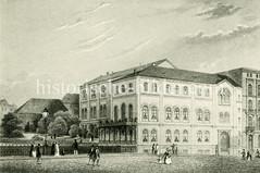 Historische Bilder aus der Hamburger Neustadt. Blick über die Bleichenbrücke am Bleichenfleet zur alten Lesehalle, die 1855 dort errichtet wurde.