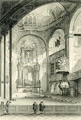 Historische Innenansicht von der Hamburger  St. Michaeliskirche, eine der fünf Hauptkirchen der Hansestadt (ca. 1850).