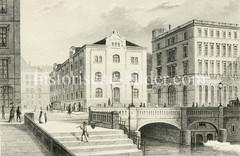 Historische Ansicht der Hamburger Innenstadt / Neustadt; Blick über das Bleichenfleet zur Poststraße, ca. 1850.