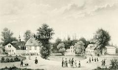 Altes Darstellung vom Rettungsdorf Rauhes Haus im Hamburger Stadtteil Horn. Die Stiftung wurde 1833 von Johann Hinrich Wichern zusammen mit Hamburger Bürgern gegründet. Ursprünglich hatte sie den Zweck, ein Rettungsdorf für verhaltensauffällige o
