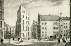 Altes Motiv der Börsenbrücke in der Hamburger Altstadt, ca. 1850.