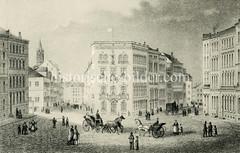 Historische Ansicht vom Georgsplatz in der Hamburger Altstadt (ca. 1850).