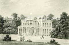 Historische Architkektur in Hamburg Nienstedten. Wilhelm Brandt war ein Großkaufmann und Reeder - die Säulenvilla wurde 1817 errichtet, Architekt Axel Bundsen.