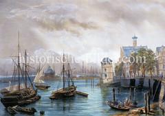 Altes Bild vom Hamburger Niederhafen um 1845 - Blick auf den Baumwall.