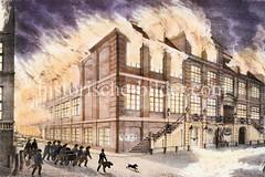 Hamburger Brand von 1842 - der Stadtbrand zerstörte große Teile der Altstadt. Der Große Brand verwüstete mehr als ein Viertel des damaligen Stadtgebietes. 51 Menschen kamen ums Leben, die Zahl der Obdachlosen wurde auf 20.000 geschätzt.