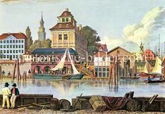 Historische Ansicht aus dem Hamburger Hafen 1818 - Blick auf den Baumwall.