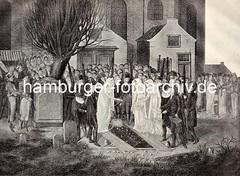 Historische Darstellung Begräbnis des Dichters Friedrich Gottlieb Klopstock. Der Sarg wird unter grosser Teilnahme ins Grab gesenkt.