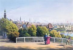 Historischer Blick vom Stintfang auf das Panorama der Hansestadt Hamburg.