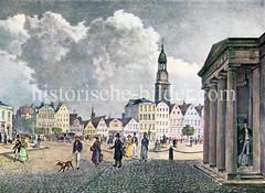 Historische Ansicht vom Zeughausmarkt in der Hamburger Neustadt.