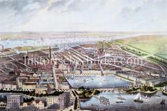 Historisches Panorama / Luftdarstellung der Hamburger Innenstadt um 1870; Blick auf die Alster und die Kirchen der Stadt. Im Hintergrund die Hafenanlagen und die Elbe mit Schiffen.