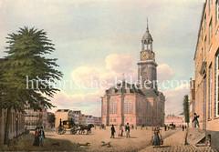 Historisches Motiv der Hamburger St. Michaeliskirche  - Blick vom Krayenkamp auf das Kirchenschiff + Kirchturm; Hunde spielen auf dem Platz, über die eine Pferdekutsche fährt.