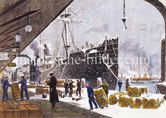 Alte Darstellung / colorierter Stich von der Arbeit am Hafenkai im Hamburger Hafen / Sandtorhafen. Ein Dampfkran löscht die Fracht eines Schiffs, Fässer liegen auf dem Kai und der Laderampe.