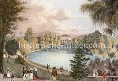 Blick über den Hamburger Botanischen Garten Richtung Esplanade  - Hamburger Bürger und Bürgerinnen lustwandeln mit Kindern im Park, ca. 1850.