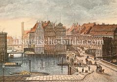 Blick auf dem Hamburger Teerhof am Fleet.