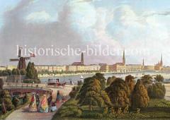 Altes Motiv von der Hamburger Lombardsbrücke 1850;  Windmühle - im Hintergrund das Panorama der Hansestadt.