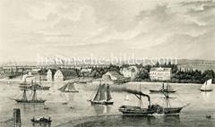 Historische Ansicht von Hamburg Steinwerder, Blick über die Elbe.  Auf dem Fluß fahren Segelschiffe und Raddampfer.