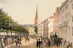 Hamburgs Jungfernstieg um 1830; Pferdekutschen, Reiter und FußgänerInnen - im Hintergrund die Petrikirche.