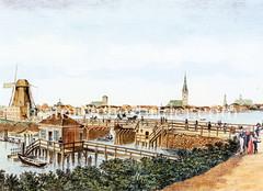 Altes Motiv von der Hamburger Lombardsbrücke 1810; Bootsanleger und Windmühle - im Hintergrund das Panorama der Hansestadt.