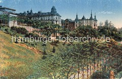 Geschichte Hamburg Altona - Blick auf die Rainvilleterrasse. Historisches Motiv - coloriertes Bild des Elbberges mit der gründerzeitlichen Wohnbebauung.