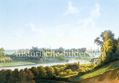 Blick über die Bille in Billwerder - im Hintergrund sind Türme Hamburgs zu erkennen (ca. 1855).