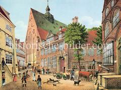 Blick auf die Johanniskirche und Klosterbauten in der Nähe des jetzigen Rathausmarktes. (1828)