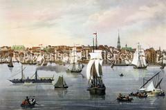Blick über die Elbe nach Altona, ca. 1845 - Panorama des Elbufers - Segelschiffe, Frachtsegler  - Ruderboote und ein Raddampfer fahren auf dem Fluß; re. der Kirchturm der Trinitatis-Kirche.