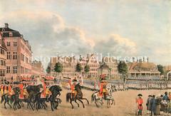 Parade vom Hamburger Stadtmilitär auf dem Großneumarkt um 1820.