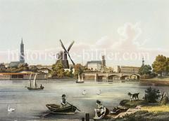Am Ufer der Aussenalster wird Wäsche gewaschen - Blick zur Lombardbrücke mit der Windmühle, dahinter Türme in Hamburgs Altstadt (1845)