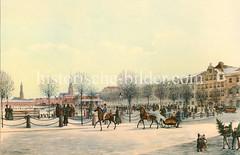 Hamburger Jungfernstieg um 1840; Blick auf die zugefrorene Alster, Pferde mit Schlitten auf der Straße.