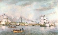 Historisches Panorama von der Elbe und Hamburg; Ruderboote, Raddampfer und Segelschiffe auf dem Wasser.