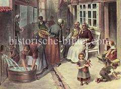 Szene aus dem Hamburger Gängeviertel - Kinder spielen vor der Haustür, Frauen tratschen oder waschen die Wäsche in einem Waschzuber.