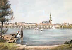 Blick über die Hamburger Aussenalster, ca. 1846 - am anderen Alsterufer das Panorama von St. Georg, Wäscherinnen waschen am Ufer die Wäsche.