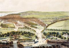 Luftansicht Richtung St. Pauli  - im Vordergrund  Windmühlen am Wallring - re. das Heiligengeistfeld, ca. 1860.