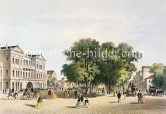 Historische Darstellung des ersten Altonaer Bahnhofs, ca. 1845 - Blick in die Palmaille.