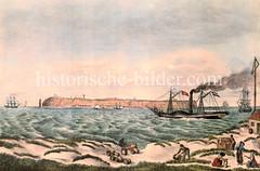Historischen Ansicht der Insel Helgoland in der Nordsee. Blick von der Sandinsel / Dühne auf die Insel. Die ursprünglich größere Insel zerbrach 1721; seitdem existiert die als Düne bezeichnete Nebeninsel.