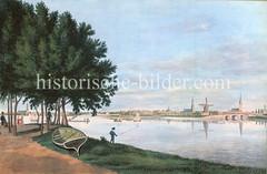 Ufer der Aussenalster - Blick über die Alster Richtung Innenstadt und St. Georg, ca. 1832.