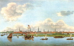 Panorama der Hansestadt Hamburg um 1700 - Schiffe auf der Elbe, Türme der Stadt.