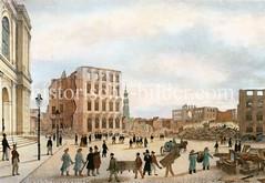 Ruinen am Adolphsplatz in der Hamburger Altstadt nach dem Brand 1842 - Bürger stapeln Möbelstücke auf die Straße; lks. die Börse.