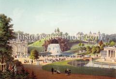 Historische Darstellung vom Zoologischen Garten in Hamburg um 1865 - Blick auf die Wasserfallgrotte und re. das Flamingohaus.
