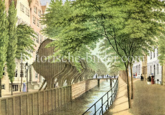 Altes Bild vom Rödingsmarkt in der Hamburger Altstadt - Blick auf das Rödingsmarktfleet und die Winden, ca. 1842.