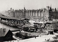 Historische Fotografie des Sandtorhafens und der Hamburger Speicherstadt beim Sandtorkai.