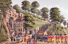 Historische Darstellung der Hamburger Bürgerwache am Dammtor um 1800. Ansicht der Wallanlagen und Stadtbefestigung der Hansestadt.