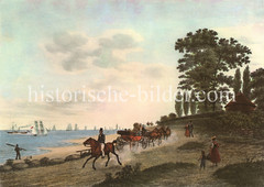 Elbstrand bei Hamburg Nienstedten - Kutsche und Reiter, Segelschiffe und Raddampfer auf der Elbe.