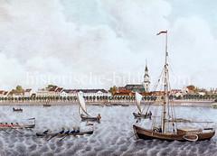 Blick über die Hamburger Aussenalster zum Dreieingkeitskirche von St. Georg - Segelboote und Ruderboote auf dem Wasser (ca. 1840).