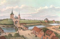 Alte Ansicht von der Hamburger Stadtbefestigung um 1600 - Blick über den Stadtgraben zum Düsterntor / Millerntor.
