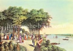 Alte Ansicht von der Gaststätte Jacobsen in Hamburg Nienstedten; Blick auf die Elbe.