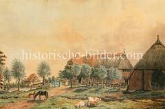 Historische Ansicht vom Bauernhof Schäferkamp in Hamburg Eimsbüttel um 1800.