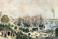 Historische Ansicht vom Hamburger Niederhafen um 1860 - Segelschiffe liegen dicht an dicht auf der Elbe; an Land ein Kran und Pferdefuhrwerke.