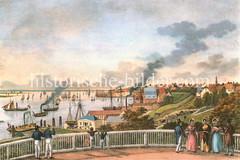 Panorama der Elbe Richtung St. Pauli und Altona; Schiffe auf dem Fluß - Blick von der Elbhöhe.