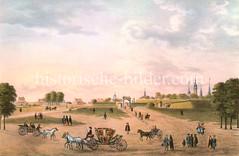 Blick auf die Hamburger Stadtbefestigung am Steintor um 1700. Kutschen, Pferdewagen und FußgängerInnen auf der Straße - im Hintergrund die Türme der Stadt.